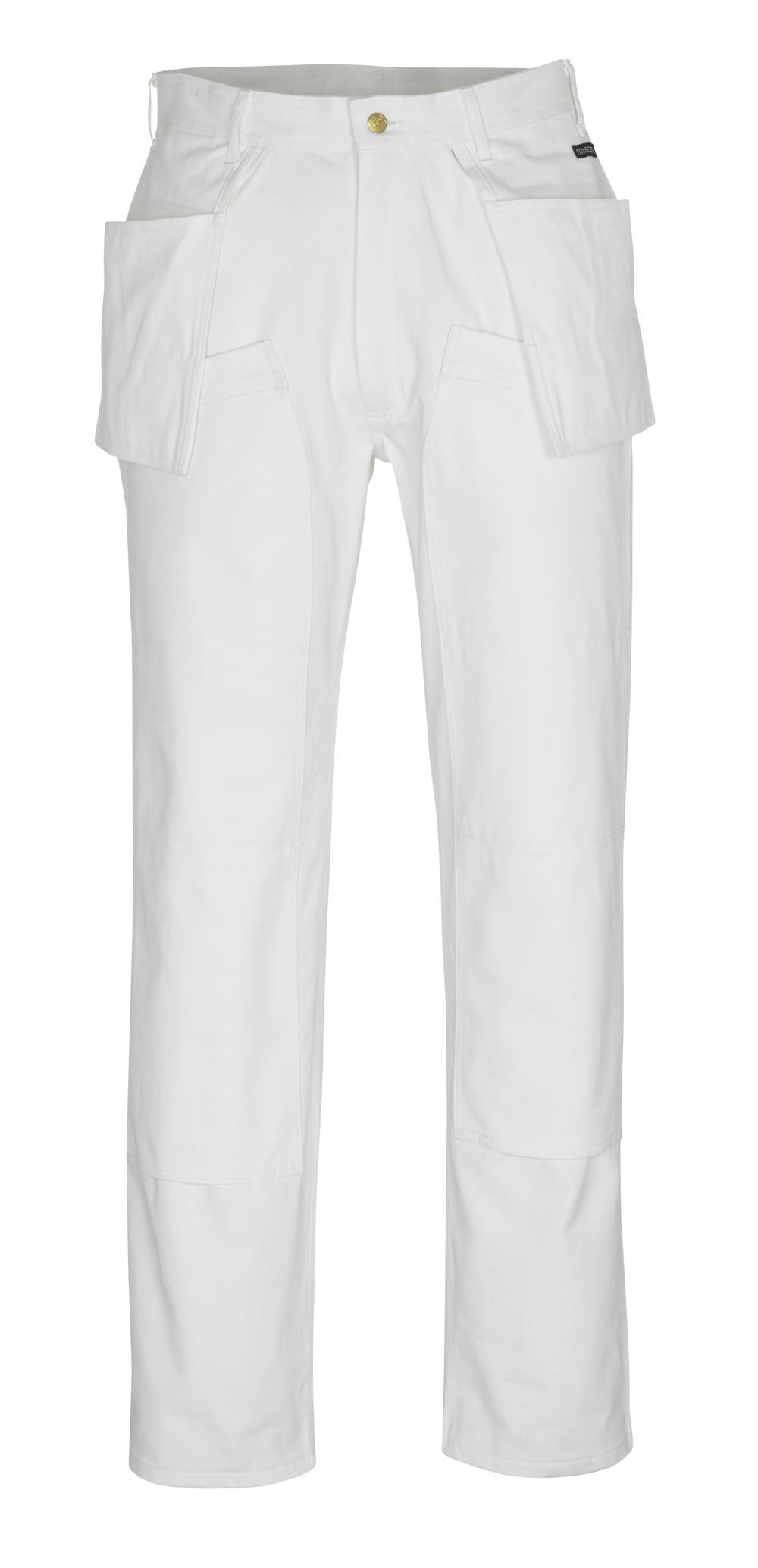 00538-630-06 Pantaloni con tasche porta-ginocchiere e tasche esterne - bianco