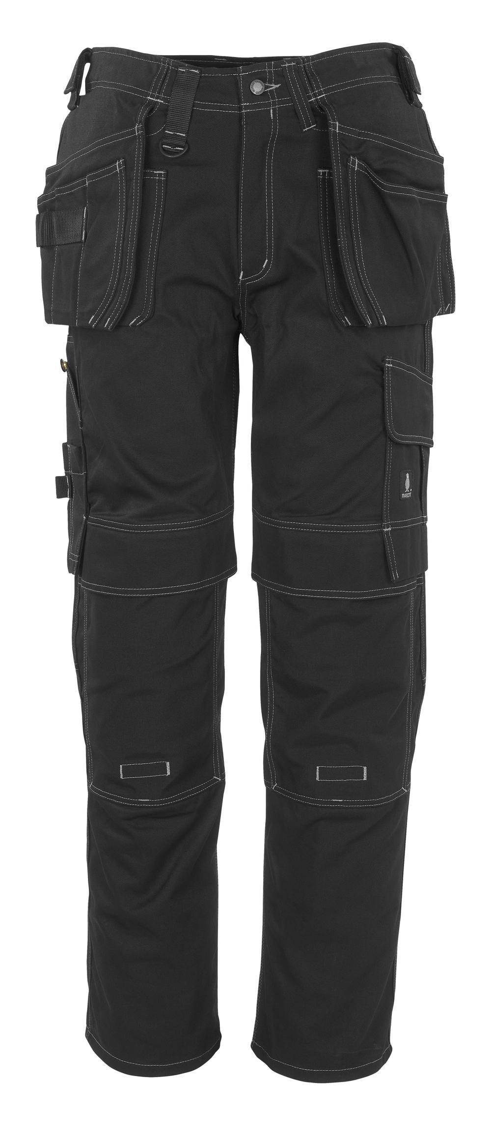 06131-630-09 Pantaloni con tasche porta-ginocchiere e tasche esterne - nero