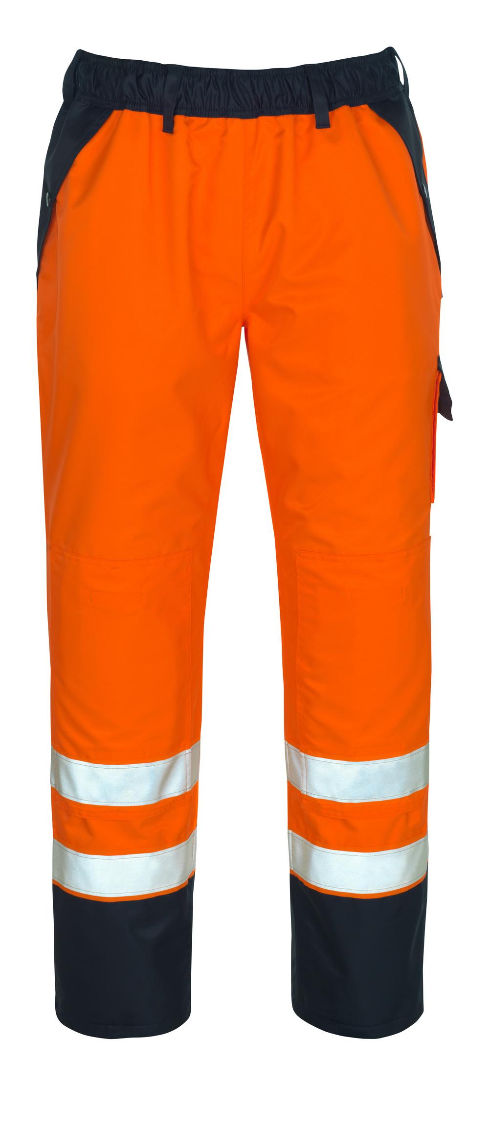 07090-880-141 Sovrapantalone con tasche porta-ginocchiere - arancio hi-vis/blu navy