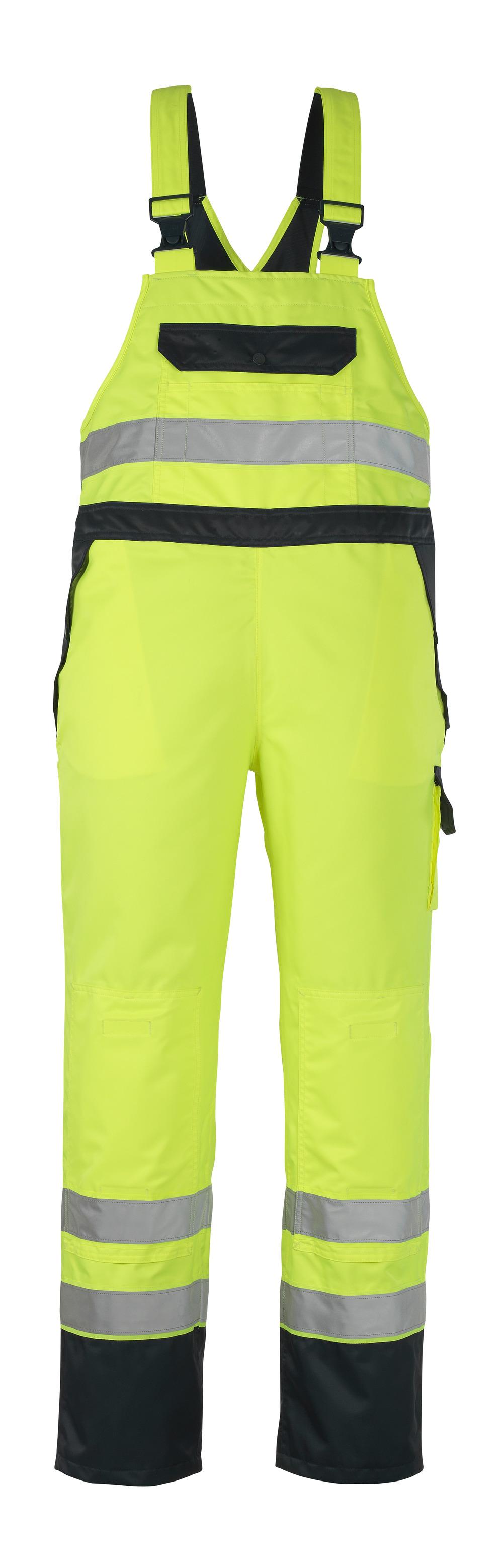 07092-880-171 Salopette sovrapantalone con tasche porta-ginocchiere - giallo hi-vis/blu navy