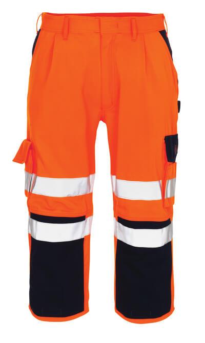 07149-860-141 ¾ Lunghezza Pantaloni con tasche porta-ginocchiere - arancio hi-vis/blu navy
