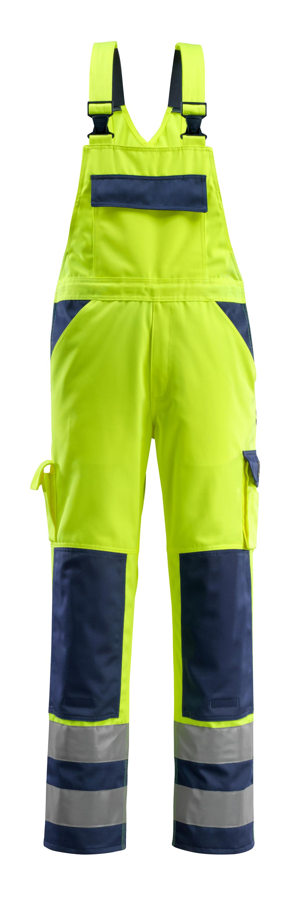 07169-470-171 Salopette con tasche porta-ginocchiere - giallo hi-vis/blu navy