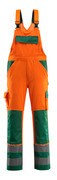 07169-860-1403 Salopette con tasche porta-ginocchiere - arancio hi-vis/verde