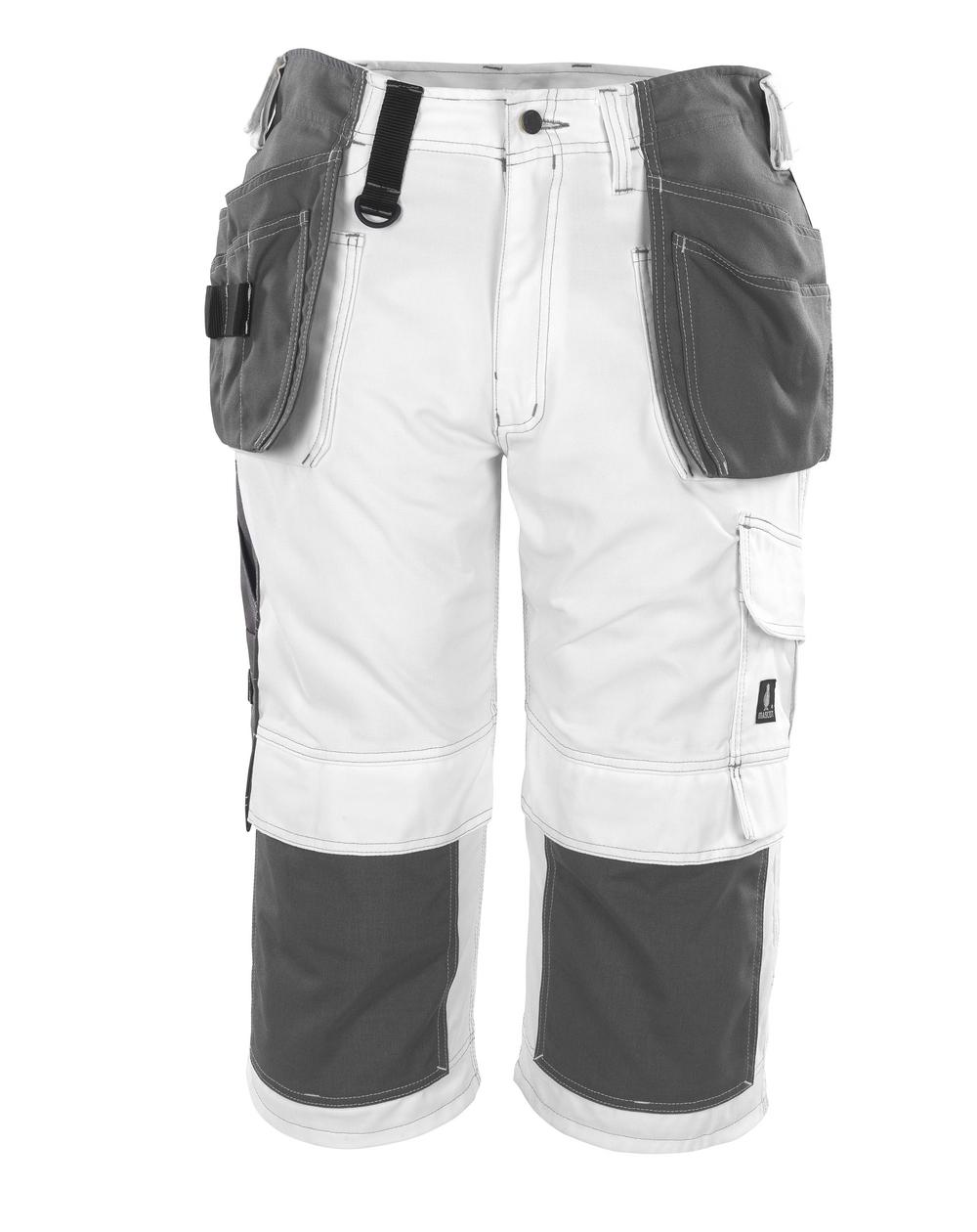 08349-154-06 ¾ Lunghezza Pantaloni con tasche porta-ginocchiere e tasche esterne - bianco