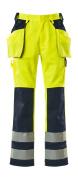 09131-470-171 Pantaloni con tasche porta-ginocchiere e tasche esterne - giallo hi-vis/blu navy