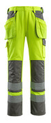 09131-470-17888 Pantaloni con tasche porta-ginocchiere e tasche esterne - giallo hi-vis/antracite