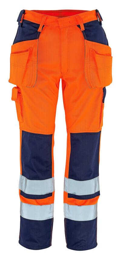 09131-860-141 Pantaloni con tasche porta-ginocchiere e tasche esterne - arancio hi-vis/blu navy