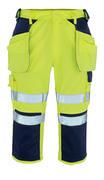 09149-470-171 ¾ Lunghezza Pantaloni con tasche porta-ginocchiere e tasche esterne - giallo hi-vis/blu navy