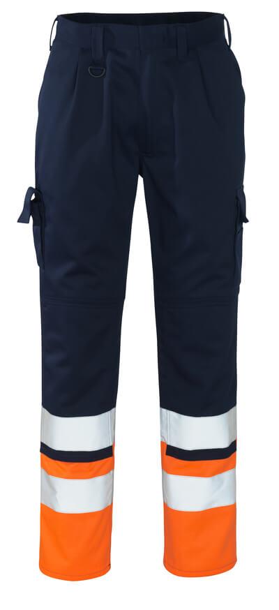 12379-430-0114 Pantaloni con tasche porta-ginocchiere - blu navy/arancio hi-vis