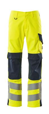 13879-216-17010 Pantaloni con tasche porta-ginocchiere - giallo hi-vis/blu navy scuro