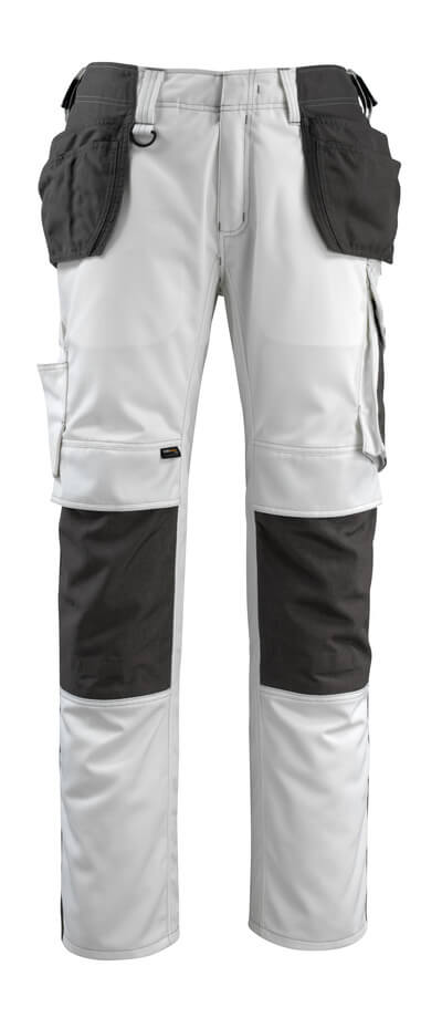 14031-203-0618 Pantaloni con tasche porta-ginocchiere e tasche esterne - bianco/antracite scuro