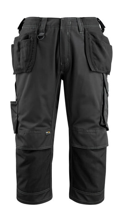 14449-442-09 ¾ Lunghezza Pantaloni con tasche porta-ginocchiere e tasche esterne - nero