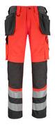 14931-860-A49 Pantaloni con tasche porta-ginocchiere e tasche esterne - rosso hi-vis/antracite scuro