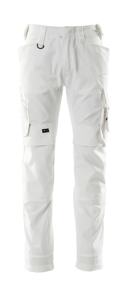 15079-010-06 Pantaloni con tasche porta-ginocchiere - bianco
