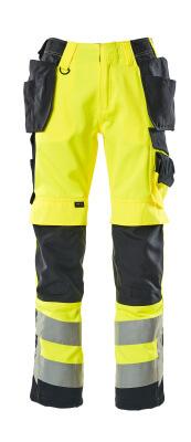 15531-860-14010 Pantaloni con tasche porta-ginocchiere e tasche esterne - arancio hi-vis/blu navy scuro