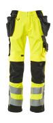 15531-860-1709 Pantaloni con tasche porta-ginocchiere e tasche esterne - giallo hi-vis/nero