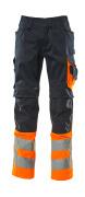 15679-860-01014 Pantaloni con tasche porta-ginocchiere - blu navy scuro/arancio hi-vis