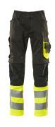 15679-860-0917 Pantaloni con tasche porta-ginocchiere - nero/giallo hi-vis
