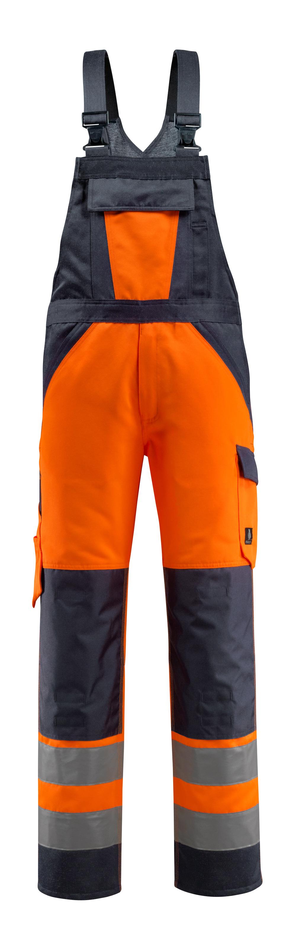 15969-948-14010 Salopette con tasche porta-ginocchiere - arancio hi-vis/blu navy scuro