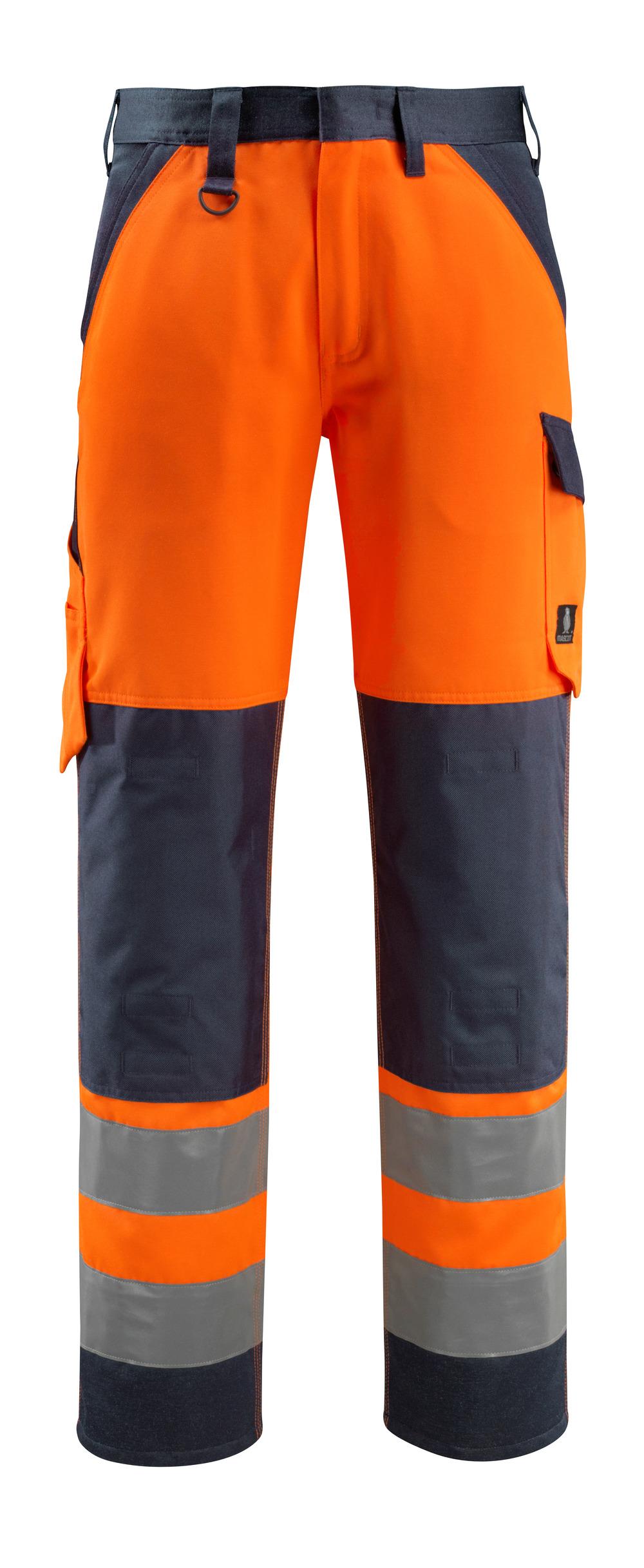 15979-948-14010 Pantaloni con tasche porta-ginocchiere - arancio hi-vis/blu navy scuro
