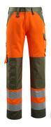 15979-948-1433 Pantaloni con tasche porta-ginocchiere - arancio hi-vis/verde muschio