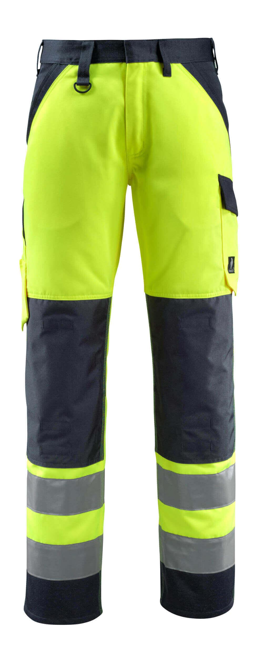 15979-948-17010 Pantaloni con tasche porta-ginocchiere - giallo hi-vis/blu navy scuro
