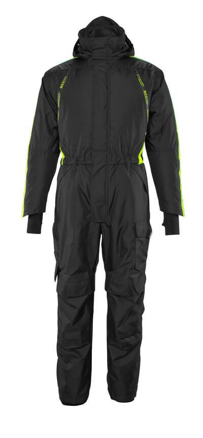 17019-231-0917 Tuta da lavoro antifreddo con tasche porta-ginocchiere - nero/giallo hi-vis