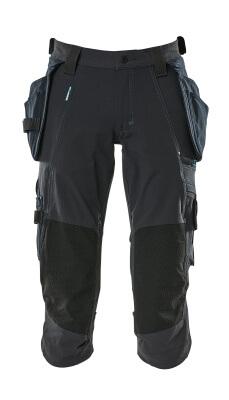 17049-311-010 ¾ Lunghezza Pantaloni con tasche porta-ginocchiere e tasche esterne - blu navy scuro