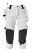 17049-311-06 ¾ Lunghezza Pantaloni con tasche porta-ginocchiere e tasche esterne - bianco