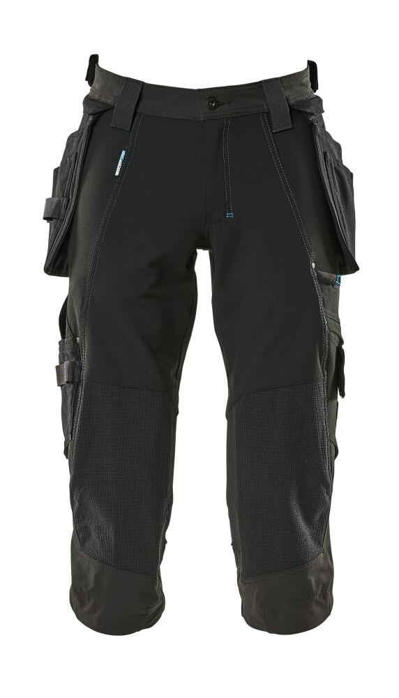 17049-311-09 ¾ Lunghezza Pantaloni con tasche porta-ginocchiere e tasche esterne - nero