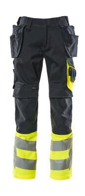17531-860-01017 Pantaloni con tasche porta-ginocchiere e tasche esterne - blu navy scuro/giallo hi-vis
