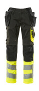 17531-860-0917 Pantaloni con tasche porta-ginocchiere e tasche esterne - nero/giallo hi-vis