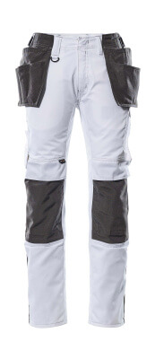 17631-442-0618 Pantaloni con tasche porta-ginocchiere e tasche esterne - bianco/antracite scuro