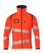 19002-143-22210 Giacca Softshell - rosso hi-vis/blu navy scuro
