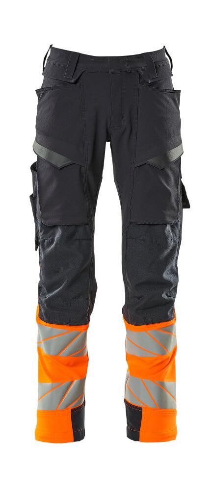 19179-511-01014 Pantaloni con tasche porta-ginocchiere - blu navy scuro/arancio hi-vis