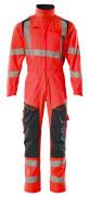 19519-236-14010 Tuta da lavoro con tasche porta-ginocchiere - arancio hi-vis/blu navy scuro