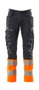 19679-236-01014 Pantaloni con tasche porta-ginocchiere - blu navy scuro/arancio hi-vis