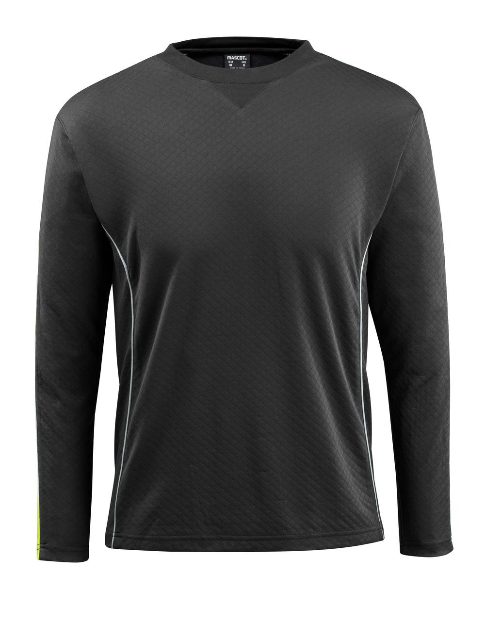 50128-933-0917 Maglietta, a maniche lunghe - nero/giallo hi-vis