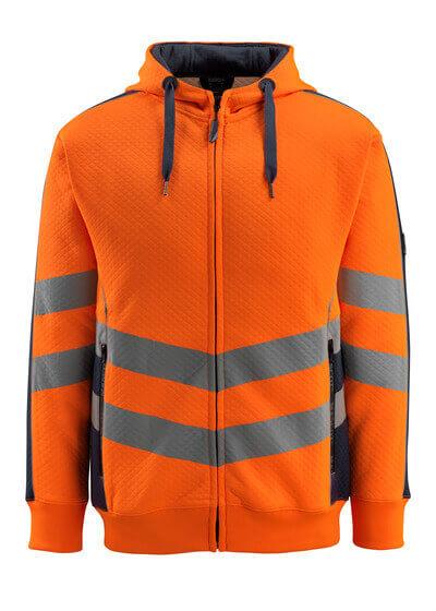 50138-932-14010 Felpa con cappuccio con chiusura lampo - arancio hi-vis/blu navy scuro