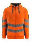 50138-932-1418 Felpa con cappuccio con chiusura lampo - arancio hi-vis/antracite scuro