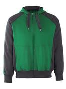 50566-963-0309 Felpa con cappuccio con chiusura lampo - verde/nero